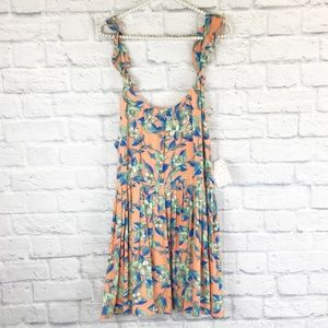 NWT Free People dear you dress orange floral Sz L